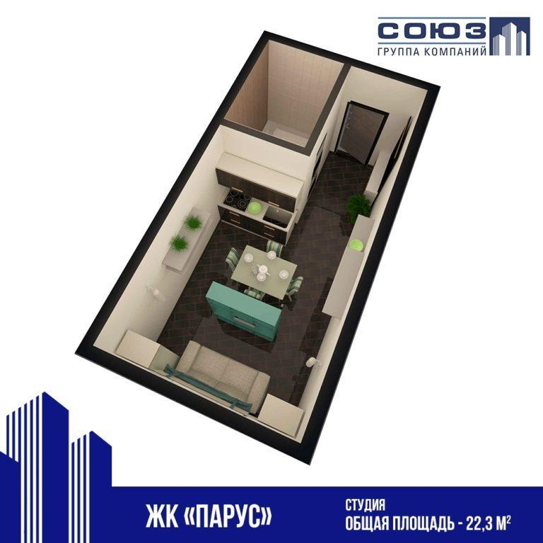 Квартира студия в Каспийске